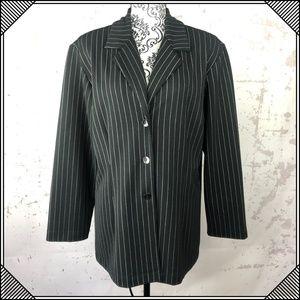 * Chico's Design Black Pinstripe Blazer Jacket *